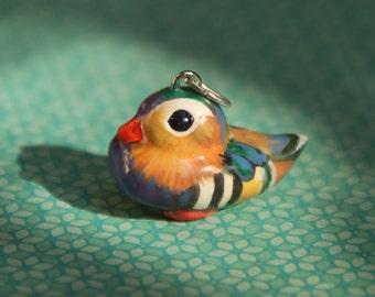 Duck Necklace /Pendant /Charm /Totem, Polymer Clay, Handmade, Hand Painted, Mandarin Duck Miniature Sculpture, Wearable Art, Gift idea