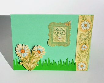 Floral Thinking of You card, handmade greeting card, paper handmade greeting card, blank card, custom greeting card, daisy card