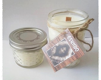 Eskimo ~ Natural Plant & Fruit Based Eco Soy Candle. Crisp, Pure, Unscented, Raw, Fragrance Free. Doubled Eco Friendly Natural Wooden Wick