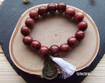 N1205 Brown Wooden Handmade Bracelet with With Chinese good luck charm