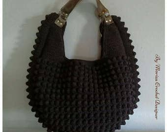 Crochet Bag  .  Brown / Off White  crochet bag . Fashion bag
