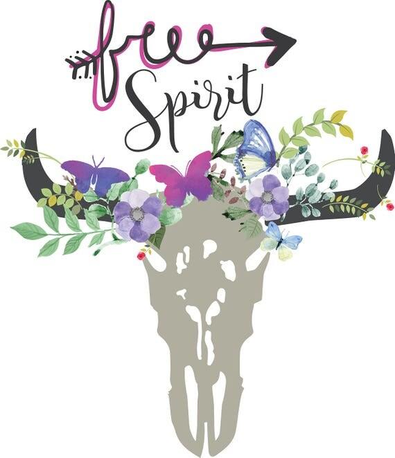 Free Spirit Svg Clipart Boho Floral Cow Skull Clipart