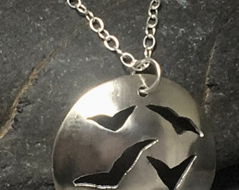 Flock of sea gulls / birds sterling silver domed disc necklace / pendant - handmade in Cornwall (with full UK hallmark)
