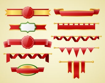 Banners clipart. Banners and ribbons clip art collection. Christmas banners. Vector art. Digital graphic.