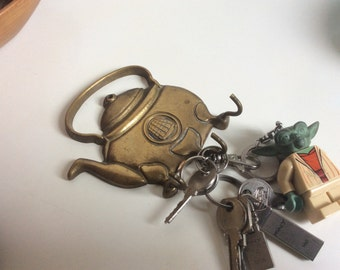 Brass key holder vintage kettle teapot