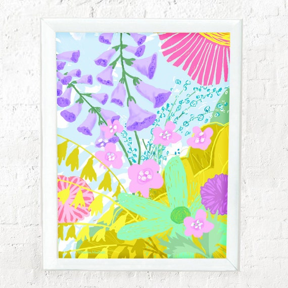 Abstract pastel floral print for girl's nursery or bedroom wall, kid's decor, nursery art, abstract floral print, pastel flowers,