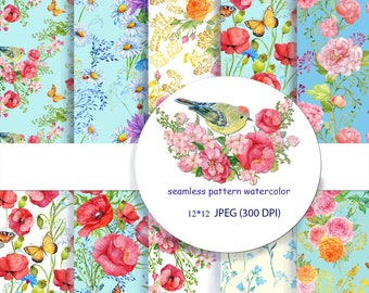 seamless patterns watercolor ,flowers digital paper,watercolor painting ,digital seamless patterns,,scrapbooking, ,floral backgrounds