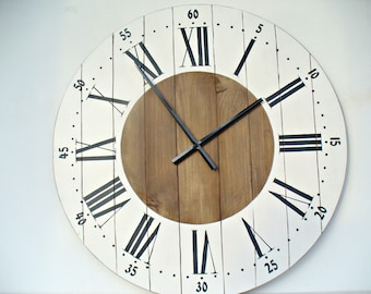 Large wall clock 24 inch wall clock Wall decor Rustic kitchen decor Wall clocks Big wall clock Rustic wall clock for living room
