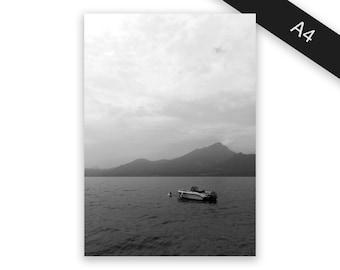 Boat on Lake - art print/photo print A4