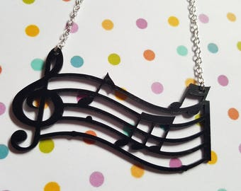 Musical note necklace, Musical note pendant, Pendant necklace, Acrylic pendant, Treble Clef, Notes, Music Stave, Music, Musical, Music lover