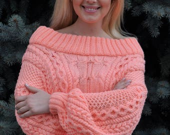 Cable Knit Sweater, Cream Sweater, Handmade Sweater, Knitted Jumper, Pullover Sweater, Cable Knit Jumper, Off Shoulder Sweater,Cable Sweater