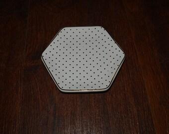 "Gold Tone Polka Dot Jewelry Trinket Dish 4"" x 4.5"""