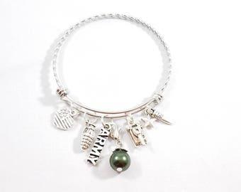 Army Braided Bangle Bracelet