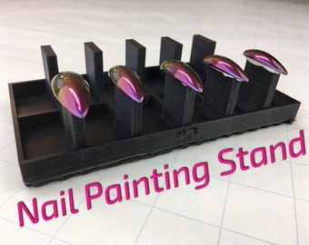 Nail Painting Stand and Tray | Nail Tip | Cosplay | Drag Queens | False Nails | Press On | Acrylic | Stiletto | Almond | Coffin