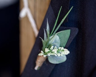 Boutonniere, Rustic Boutonniere, Greenery Boutonniere, Groomsmen Buttonhole, Greenery, Berry and Twine, Handmade, Groomsmen Boutonniere