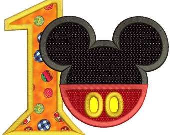Mickey Mouse 1st Birthday Applique Design 3 sizes instant download