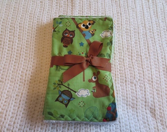 2 Pack Green  Owl Terry  Burp Cloth