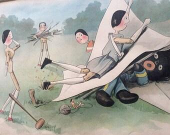 Two antique Golliwog prints 1899, antique comic print, Dutch dolls, Golliwog,collectors item, pair antique Golliwog prints, framed, Upton