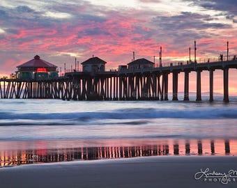 "Huntington Beach Photo Print   ""Peaceful Pier""   California Sunset   Pink Beach Wall Art - Huntington Beach Photo Decor Gift - Pink Sunset"