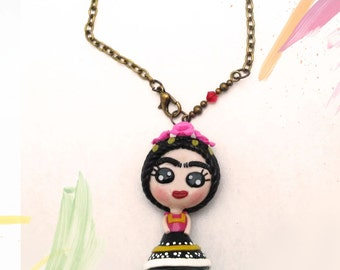 Frida kahlo necklace (pink flowers), mexican jewelry, polymer clay pendant, frida jewelry, gift for her, frida pendant, mother gift