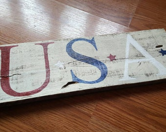 USA wooden hand painted distressed country sign