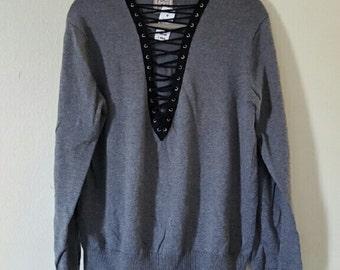 Lace Up Crew Neck Sweatshirt