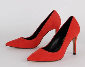BRAMARE Scarlet Red Suede Petite sized heels