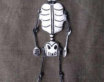Day of the dead decorative hanging skeleton. Mexican folk art