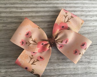 Brown Floral Bow
