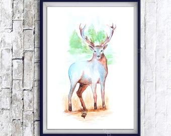 1+1=3! Print Watercolor deer painting, watercolor deer painting, deer, deer watercolor painting print, animal watercolor, animals paintings