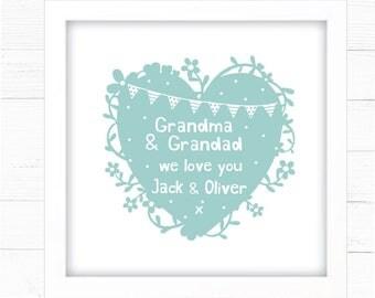Grandma & Grandad Personalised Print. Grandparents Gift Grandchildren Handmade Print Gift Family Mummy Auntie Nan, Nanny, Nana, Grandpa etc.