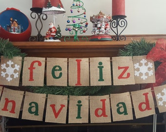 Feliz Navidad Banner, Christmas Burlap Banner, Merry Christmas Burlap Banner, Christmas Decor, Holiday Decor, BSC-084