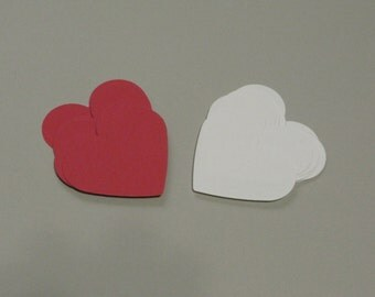 Heart shape paper punch, Tags, Hand paper punch,Red and white paper punch, hang tag, 30 tags