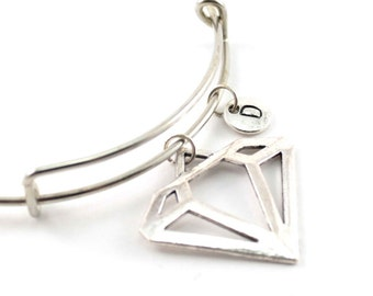 DIAMOND charm bangle, personalized charm bangle, initial bangle, diamond bracelet, personnalized bracelet, charm bracelet, initial jewelry