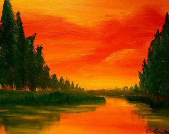 "Summer Oil Painting Landscape Print 8.5""x11"" print  -Another Day Done-"