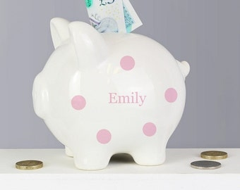 Personalised Polka Dot Money Piggy Bank, Blue, Pink, Boy, Girl, Name and Message