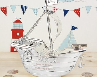 Engraved Silver Pirate Ship Moneybox - Childrens, Christening,Engraved Mesage, Birthday, New Baby, Personalised Boys Gift