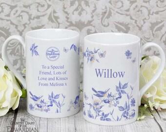 Personalised Country Diary Blue Blossom Slim Mug