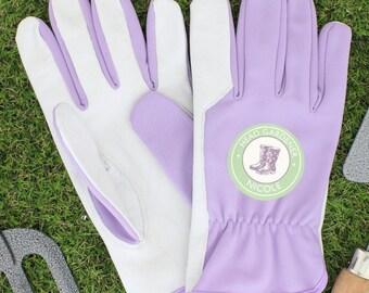 Personalised Head Gardener Leather & Nylon Womens Gardening Gloves, Mum, Grandma