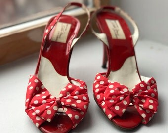 Women's Red Polka-dot Bow Sling Back Open Toe Pump