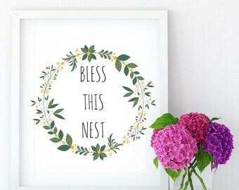 Bless This Nest Printable Art, Printable Wall Decor, Farmhouse Home Decor, PDF Digital Download, Printable Gift