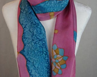 Hand painted silk scarf, gold, dusty pink & turquoise silk scarf, handmade, handpainted turquoise, pink silk scarf, gold silk scarf