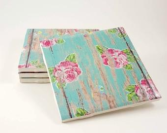 Distressed Wood Coasters  - Housewarming Gift - Rustic Coasters - Drink Coasters – Wood Coasters - Turquoise Coasters - Rose Coasters