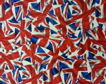 Union Jack Fabric 100% Cotton Material By Metre Queen United Kingdom Patchwork Cushions Bags Bunting