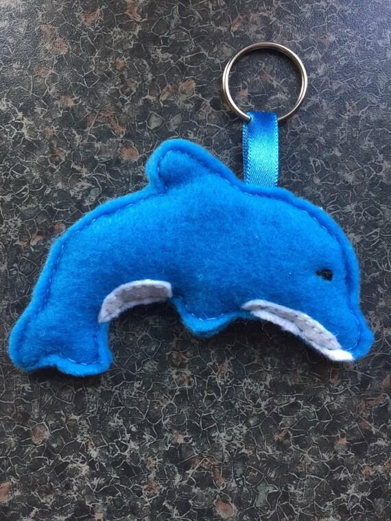 Dolphin Keyring Blue White Felt Bag Charm Keychain