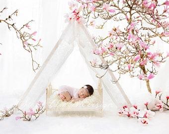 Newborn Digital Background for girls - Magnolia Tent