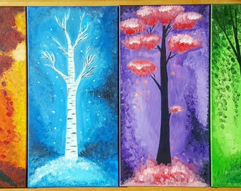 FOUR SEASONS Trees Painting set. Acrylic paint, original art