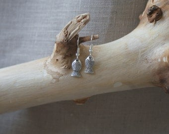 Little Fish - Silver-Plated Fish-Hook Earrings