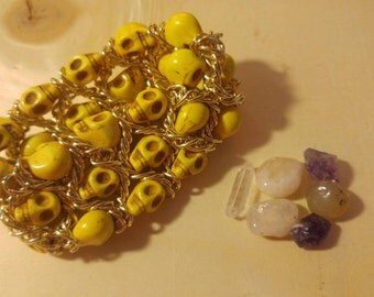Elasticated Skull & Chain Bracelet