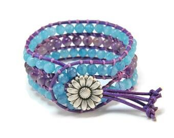 Boho Anemone * Jade & Amethyst. 3 strand Wrap Bracelet. Boho Style. Bohemian Jewelry. Semiprecious stones. Gift for her. Cuff Bracelet.